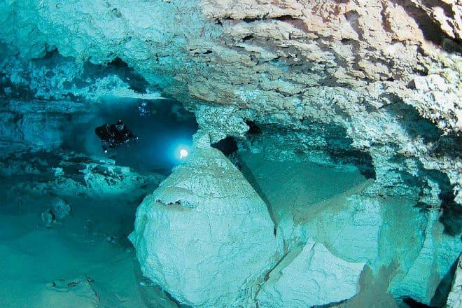 Подводные ходы и туннели Ординской пещеры