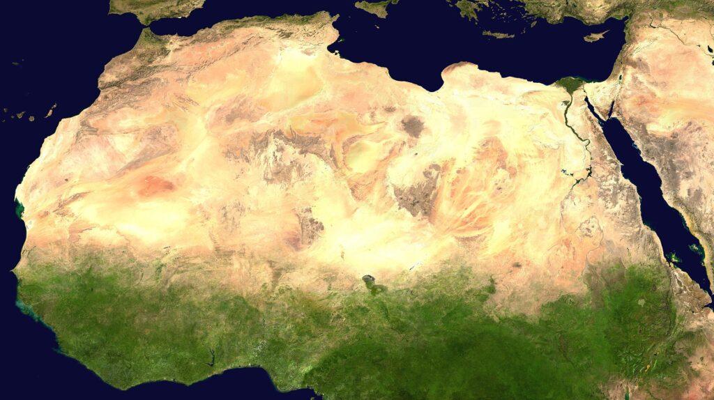 Спутниковое изображение Сахары из NASA World Wind